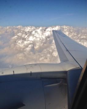 機内から見た翼