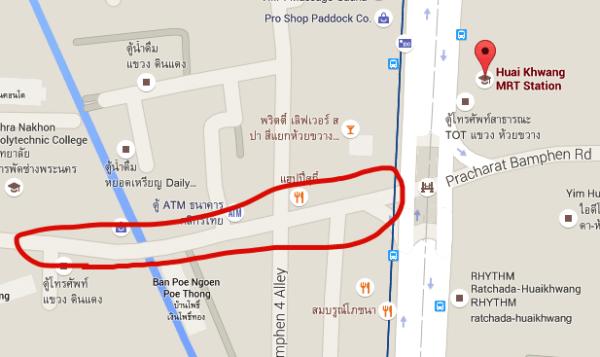 フワイクワーンナイトマーケットの地図