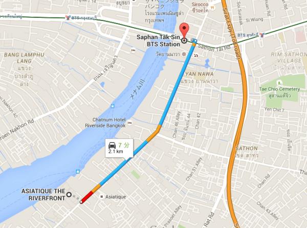 サパーンタクシン駅からアジアティークの地図