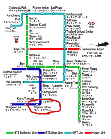 BTSのMAP。サパーンタクシン駅