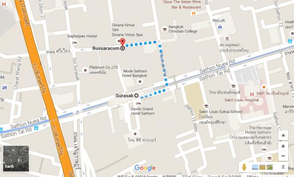 スラサック駅からブラサカムへの地図