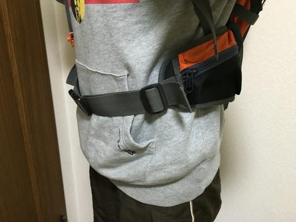 バックパックの腰ベルト