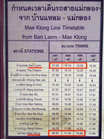 バーレーン駅発の時刻表