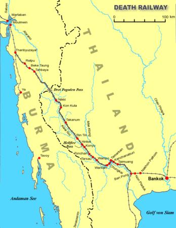 戦時中の泰緬鉄道の路線図