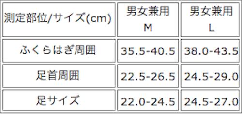 フライトソックスのサイズ表