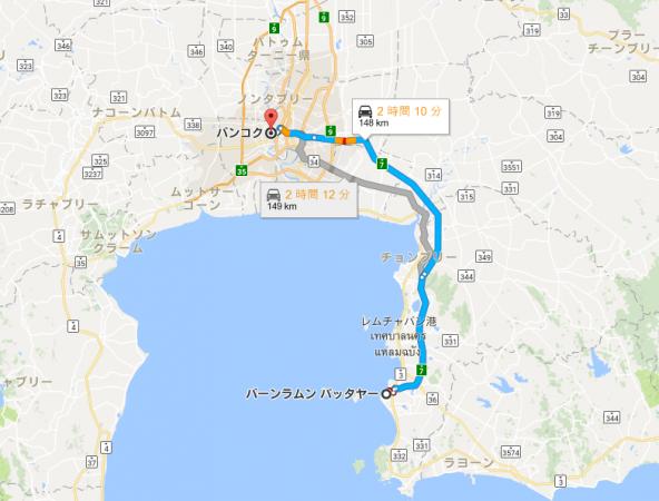 バンコクからパタヤ Google map