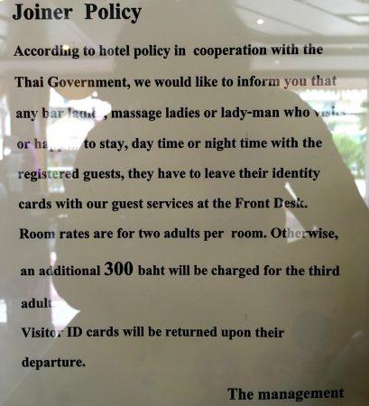 パタヤホテルにおけるジョイナーフィーポリシー