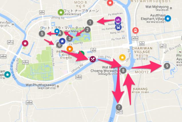 アユタヤ半日観光MAP
