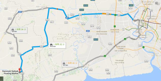 バンコクからダムヌンサドゥアック水上マーケットまでの地図