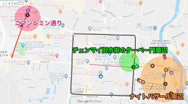 チェンマイの高レート両替所地図