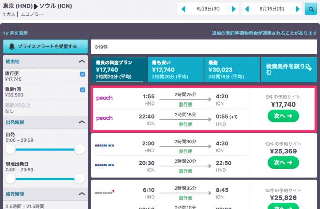 スカイスキャナー検索結果 東京からソウル