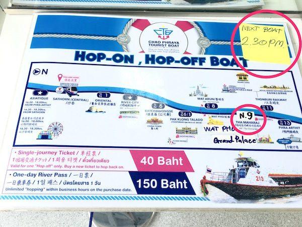 チャオプラヤーツーリストボートのルートマップ