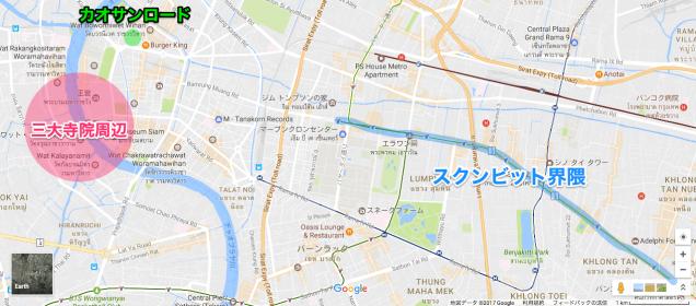 三大寺院とツーリストエリアの位置関係