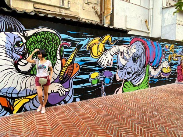 クローン オンアン ウォーキングストリート(Klong Ong Ang Walking Street)のストリートアート1