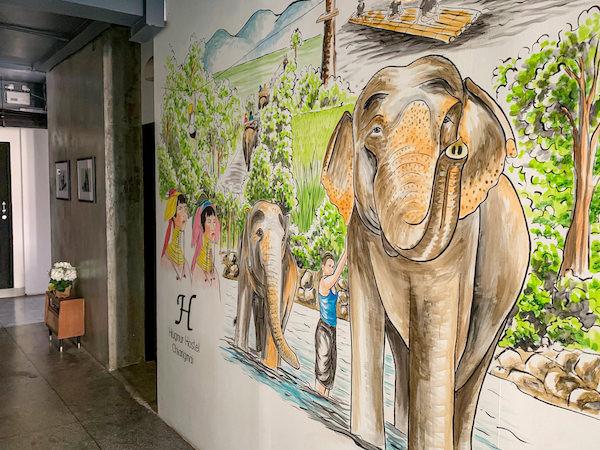 ハグヌール ホステル アンド コーヒー(Hugnur Hostel and Coffee)の壁に描かれている絵
