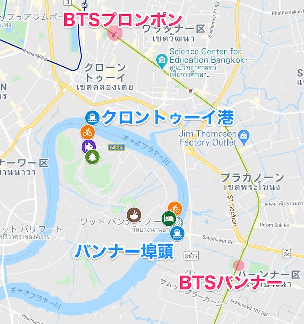バーンガジャオの入り口と最寄駅を記した地図