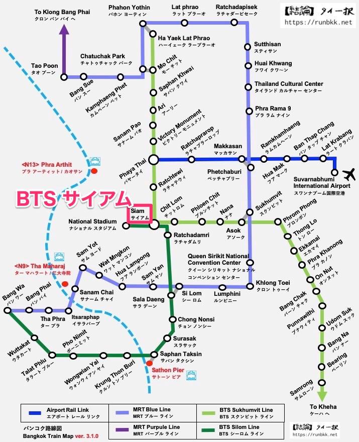 バンコクの路線図(BTSサイアム)