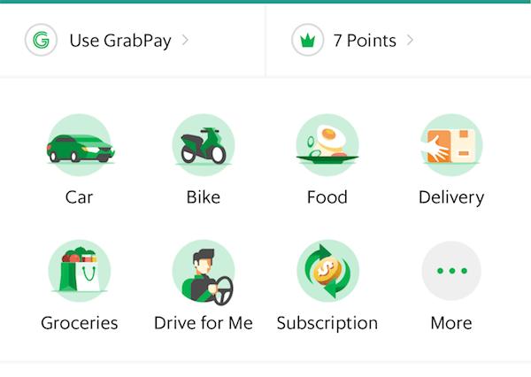 グラブタクシー(Grab)のホーム画面