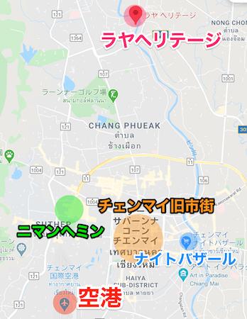 ラヤヘリテージ チェンマイ(Raya Heritage Chiangmai)とチェンマイ市街の地図