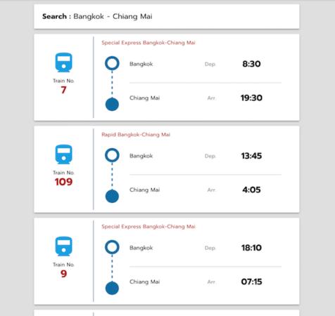 ファランポーン駅からチェンマイ駅への列車時刻表
