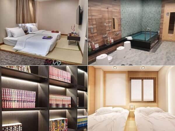ホテル呉竹荘(Hotel Kuretakeso Thailand Sriracha)の客室と大浴場