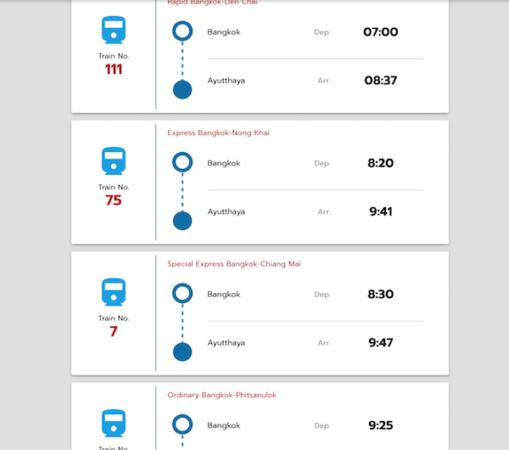 バンコク駅からアユタヤ駅への列車時刻表
