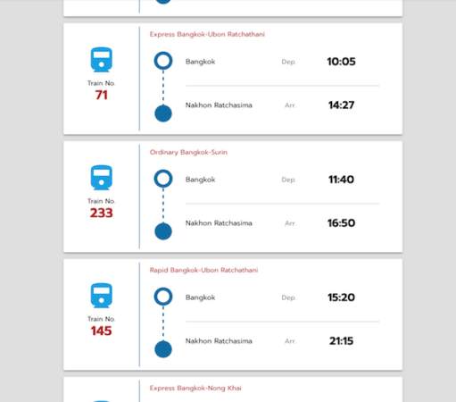 ファランポーン駅からバンコク駅への列車時刻表