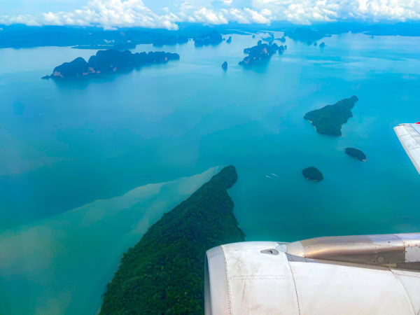 エアアジア機体から見えるプーケットの島々