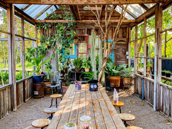 クレット島の工場カフェにあるガーデン