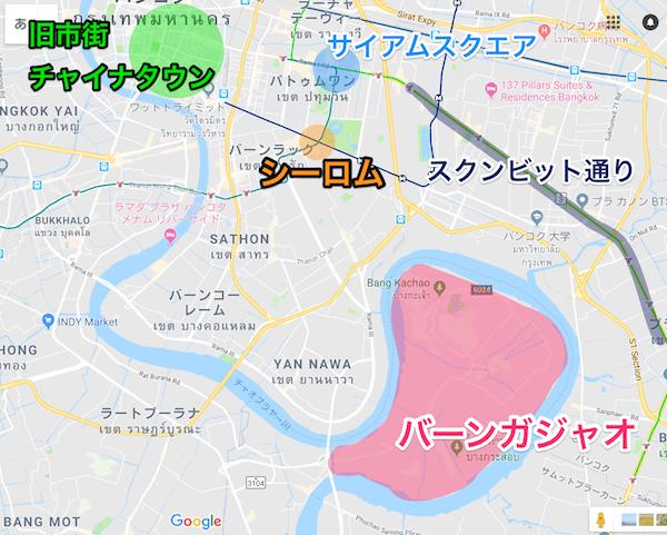 バーンガジャオの場所を記した地図