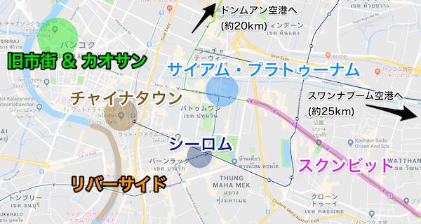 バンコクのツーリストエリア地図