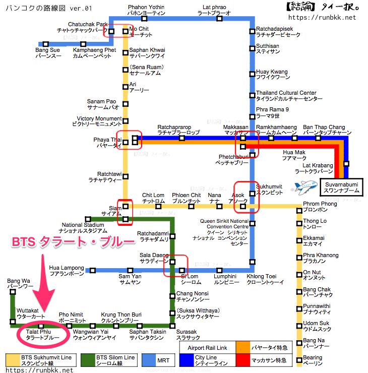 BTS路線図 BTSタラートプルー