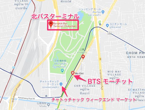 北バスターミナル周辺の地図