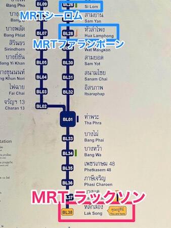 バンコクのMRT(地下鉄)路線図