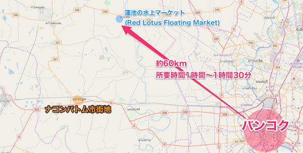 バンコクからレッド・ロータス・フローティング・マーケットまでの距離を記した地図