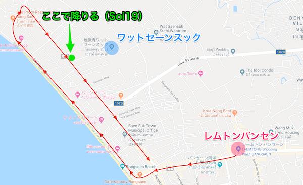 バンセンの赤色ソンテウルートマップ