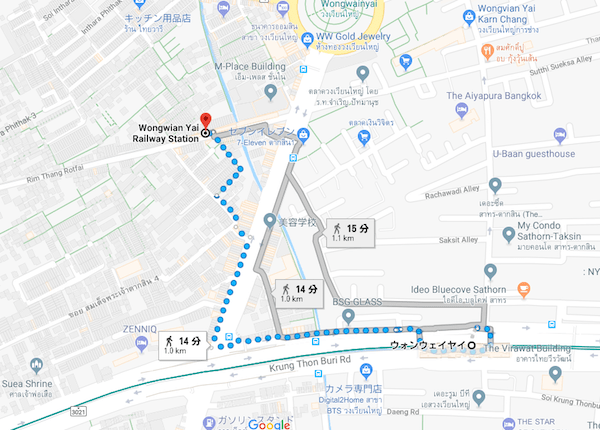 BTSウォンウィエン・ヤイから国鉄ウォンウィエン・ヤイへの地図