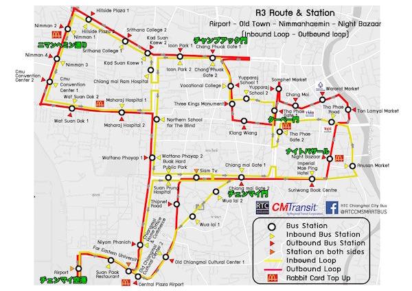 R3バスの路線MAP