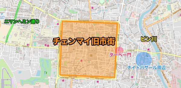 ピン川の場所を記載したチェンマイ市街の地図