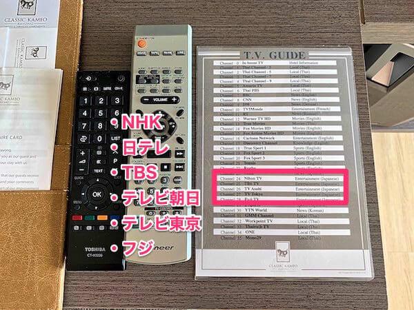 クラシック カメオ ホテル アンド サービスド アパートメンツ ラヨーン(Classic Kameo Hotel and Serviced Apartments Rayong)の客室にあるテレビ番組表ガイド