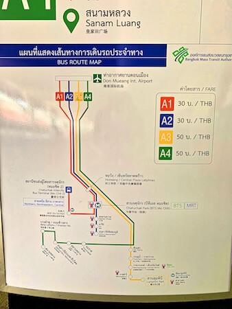 ドンムアン空港エアポートバスの路線図