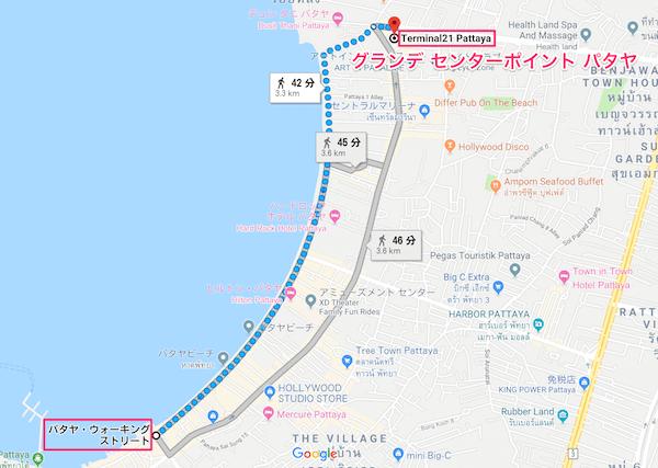 ウォーキングストリートからグランデセンターポイント パタヤへの地図