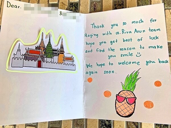 外国人宿泊客に書いたお礼のメッセージカード