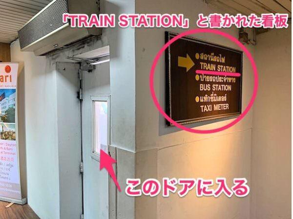 「TRAIN STATION」と書かれた看板とドア