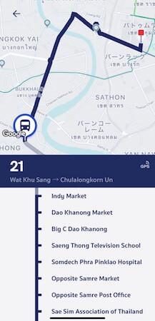 インディマーケット行きのバス路線図