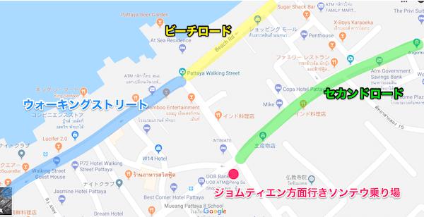 ジョムティエン方面行きソンテウ乗り場の位置を記したMAP