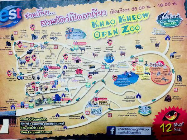 カオキアオ動物園の地図