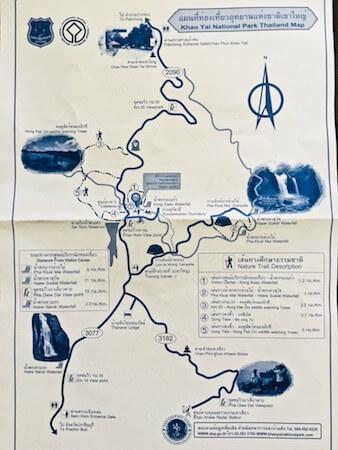 ビジターセンターで貰えるカオヤイ国立公園の地図