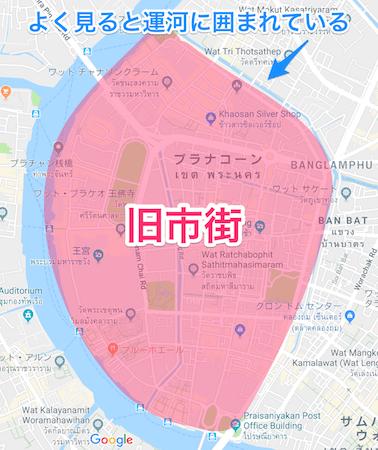 バンコク旧市街の地図