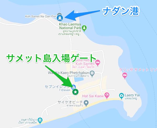 サメット島入り口の地図